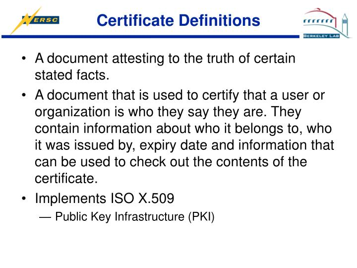 Certificate Definitions