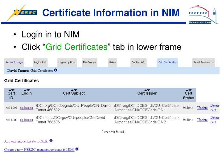 Certificate Information in NIM