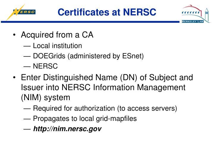Certificates at NERSC