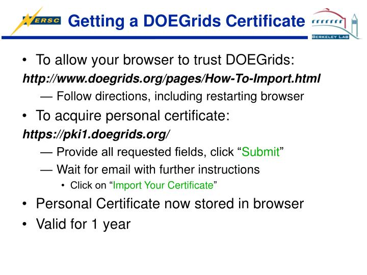 Getting a DOEGrids Certificate