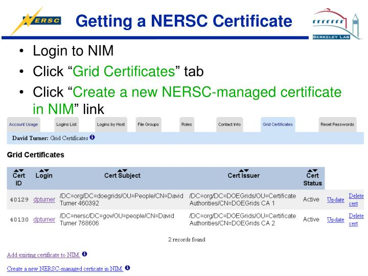 Getting a NERSC Certificate