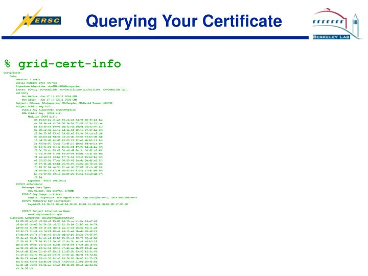 Querying Your Certificate