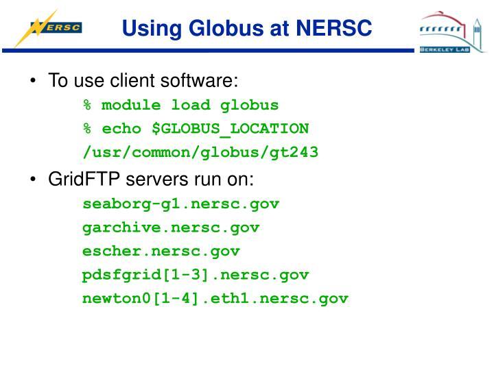 Using Globus at NERSC