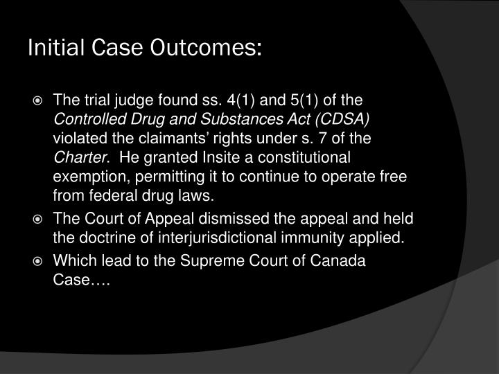 Initial Case Outcomes: