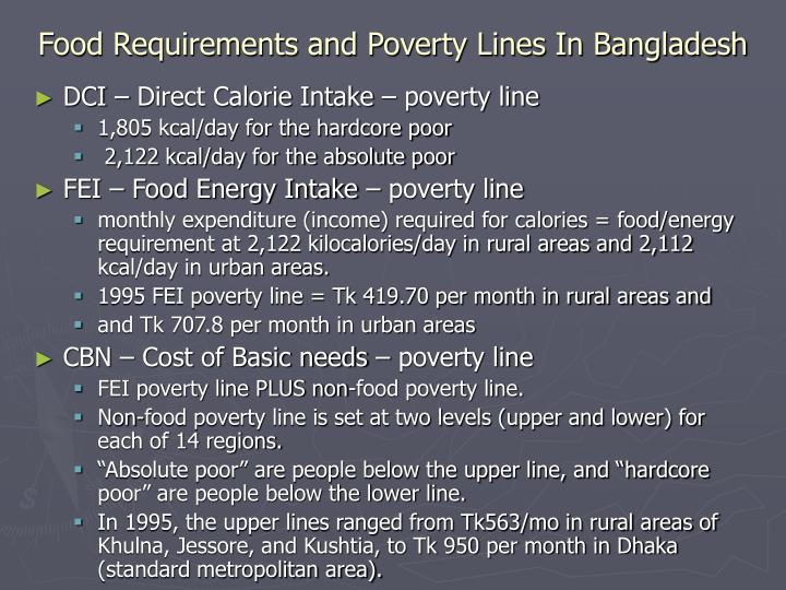 Food Requirements and Poverty Lines In Bangladesh