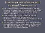 how do markets influence food shortage discuss from uvin