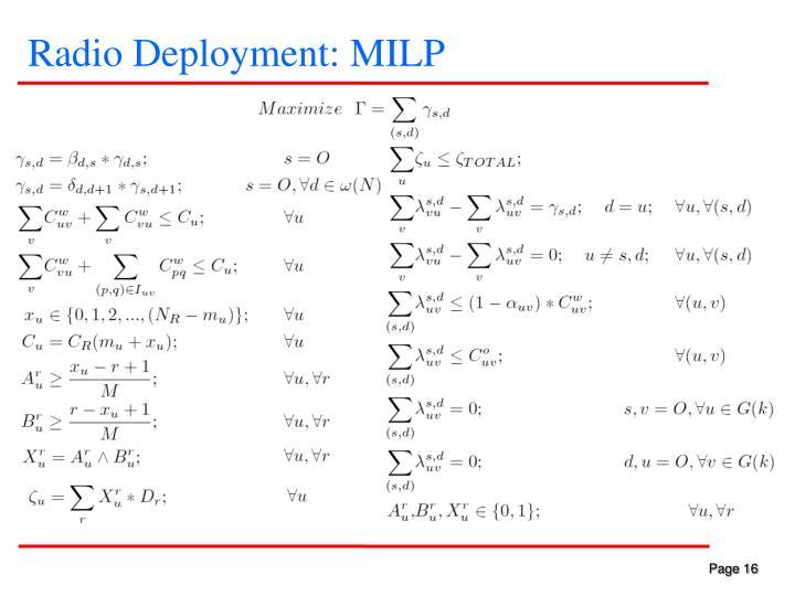 Radio Deployment: MILP