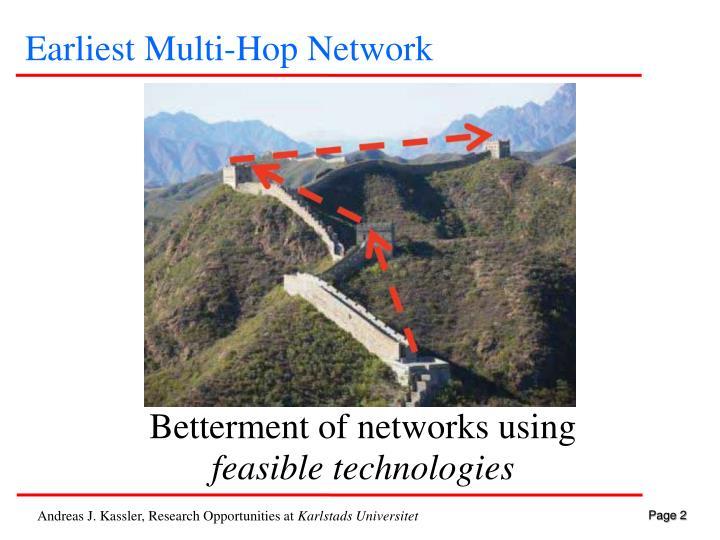 Earliest Multi-Hop Network