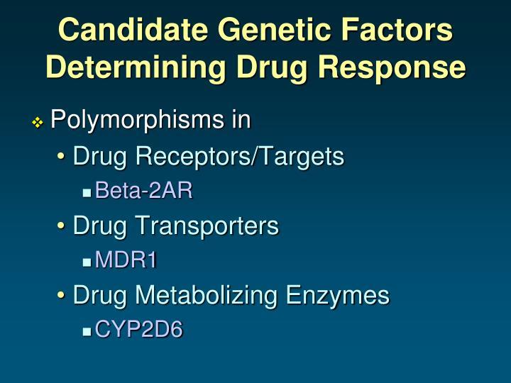 Candidate Genetic Factors Determining Drug Response