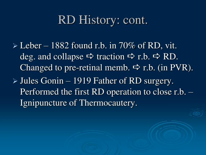 RD History: cont.