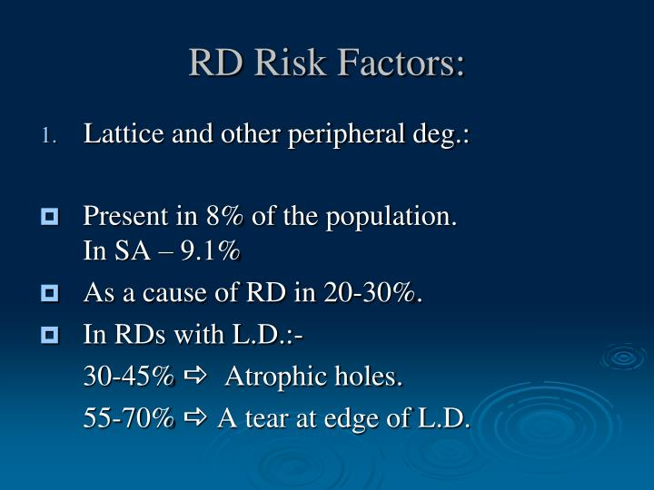 RD Risk Factors: