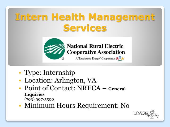 Intern Health Management Services