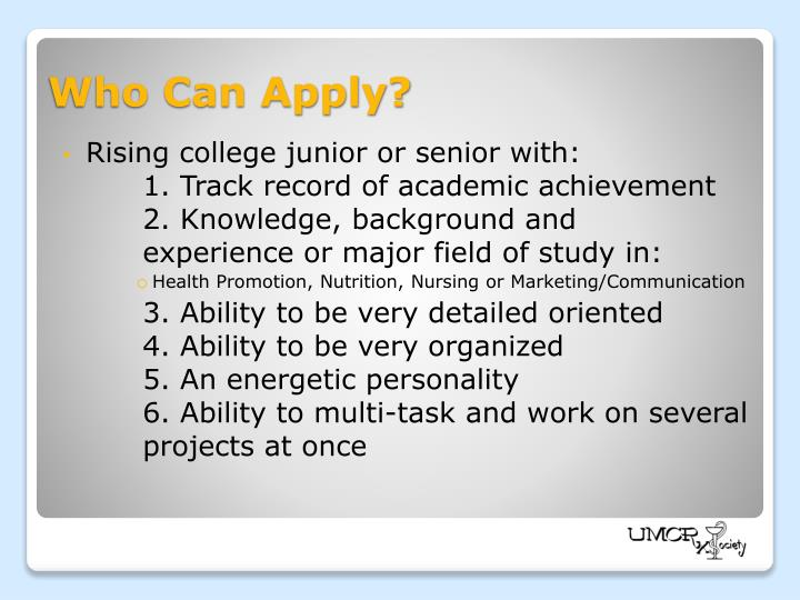 Rising college junior or senior with: