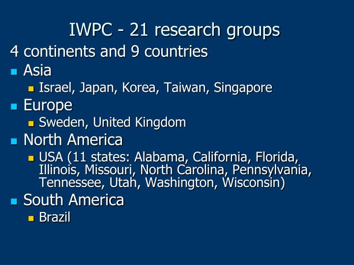 IWPC - 21 research groups