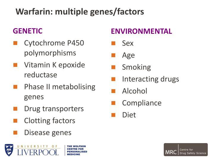 Warfarin: multiple genes/factors