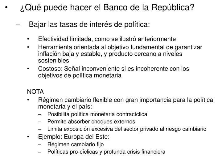 ¿Qué puede hacer el Banco de la República?