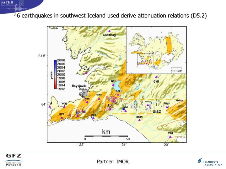 46 earthquakes in southwest Iceland used derive attenuation relations (D5.2)