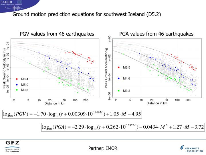 PGV values from 46 earthquakes