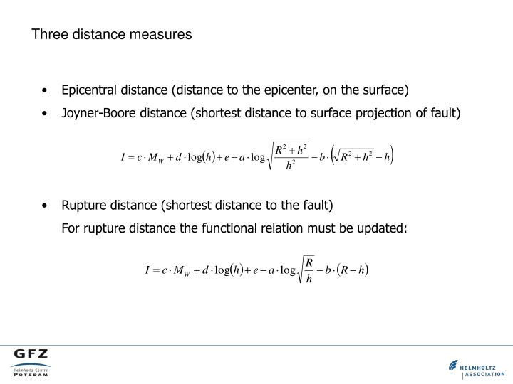 Three distance measures