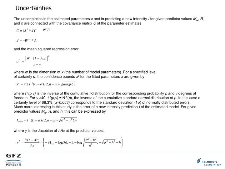 The uncertainties in the estimated parameters