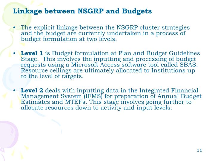 Linkage between NSGRP and Budgets