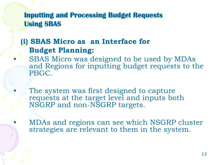 Inputting and Processing Budget Requests