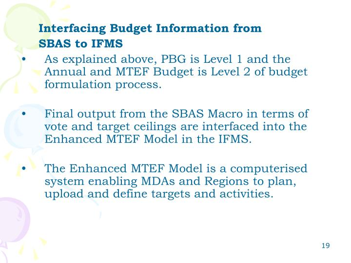 Interfacing Budget Information from
