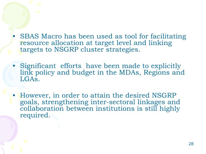 SBAS Macro has been used as tool for facilitating resource allocation at target level and linking targets to NSGRP cluster strategies.