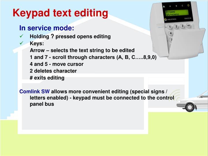 Keypad text editing