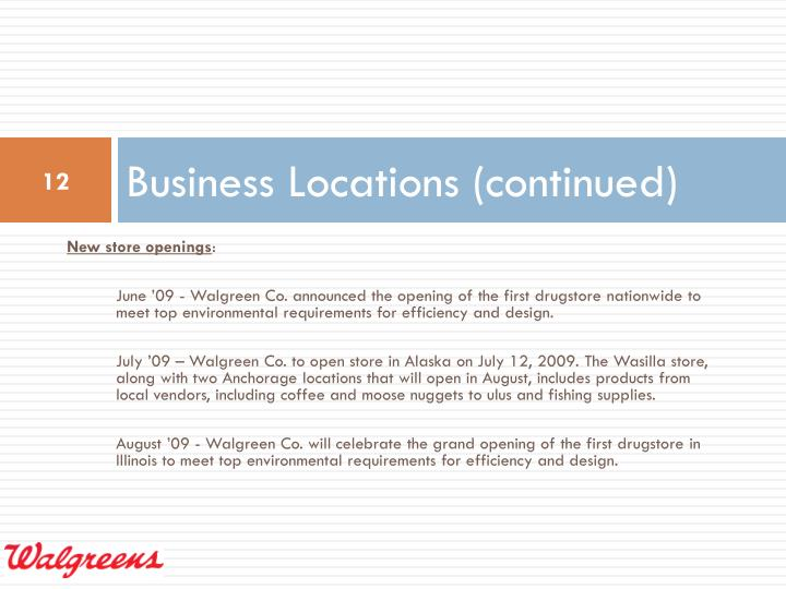 Business Locations (continued)