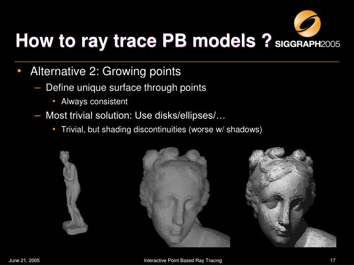 How to ray trace PB models ?