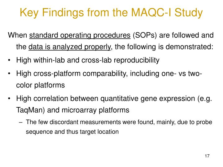 Key Findings from the MAQC-I Study