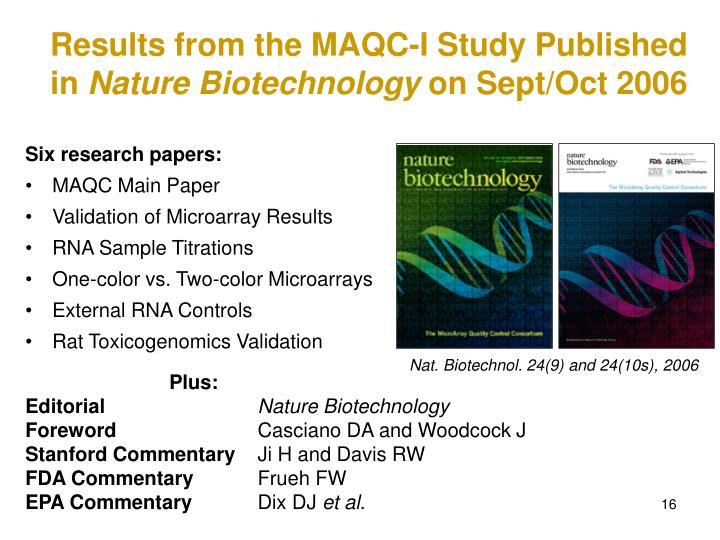 Results from the MAQC-I Study Published in