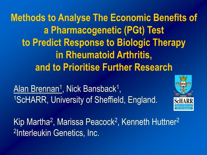 Methods to Analyse The Economic Benefits of a Pharmacogenetic (PGt) Test