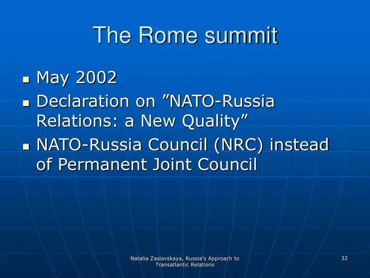 The Rome summit