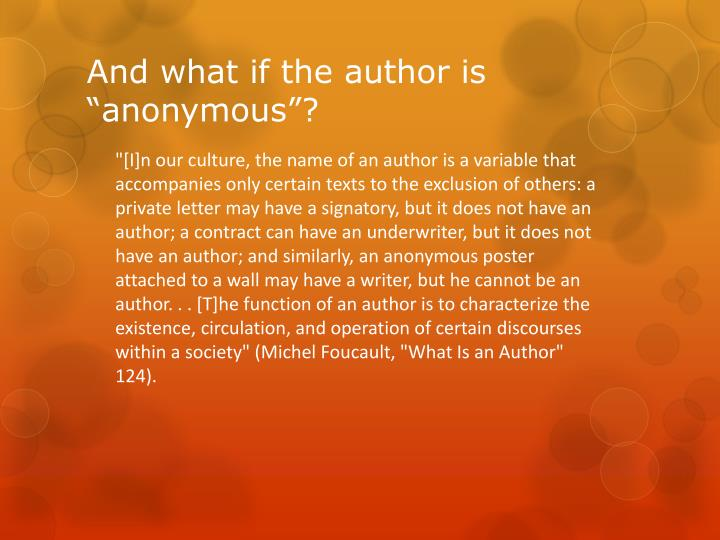 And what if the author is anonymous