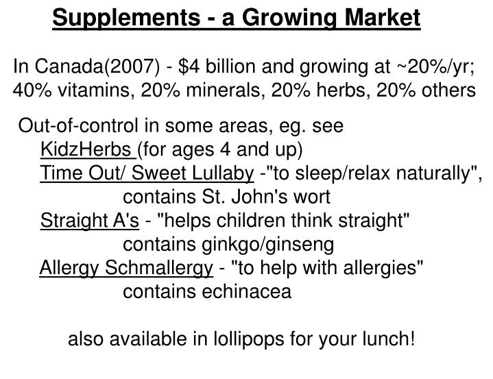 Supplements - a Growing Market