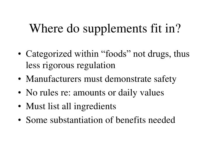 Where do supplements fit in?