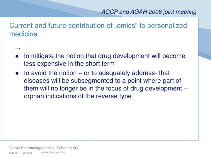 "Current and future contribution of ""omics"" to personalized medicine"