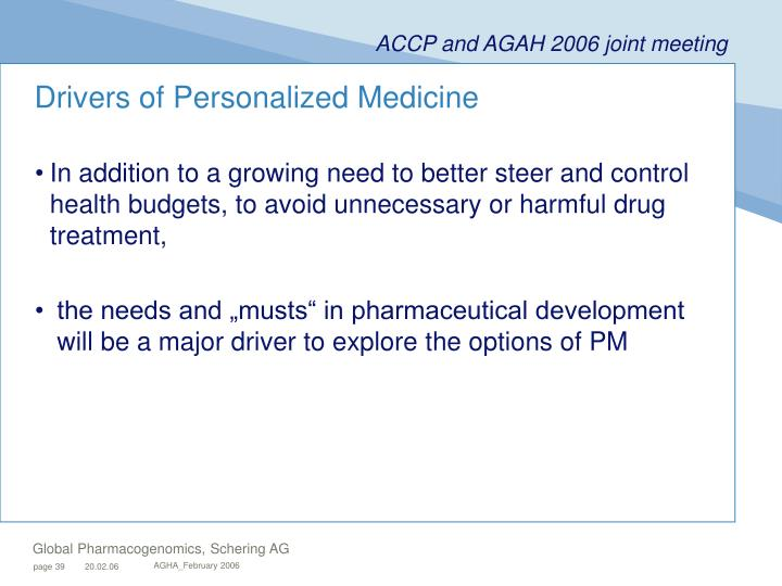 Drivers of Personalized Medicine