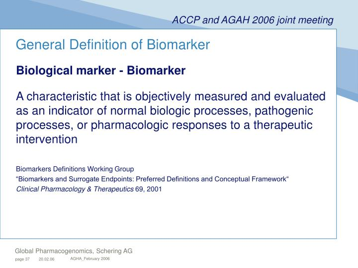 General Definition of Biomarker