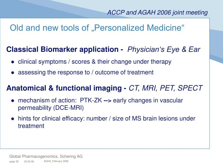 "Old and new tools of ""Personalized Medicine"""