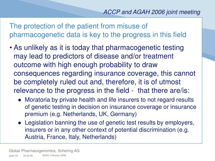 The protection of the patient from misuse of pharmacogenetic data is key to the progress in this field