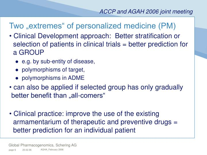 "Two ""extremes"" of personalized medicine (PM)"