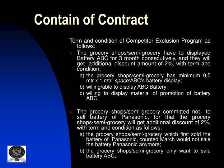 Contain of Contract