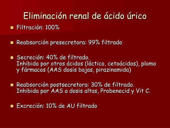 Eliminación renal de ácido úrico