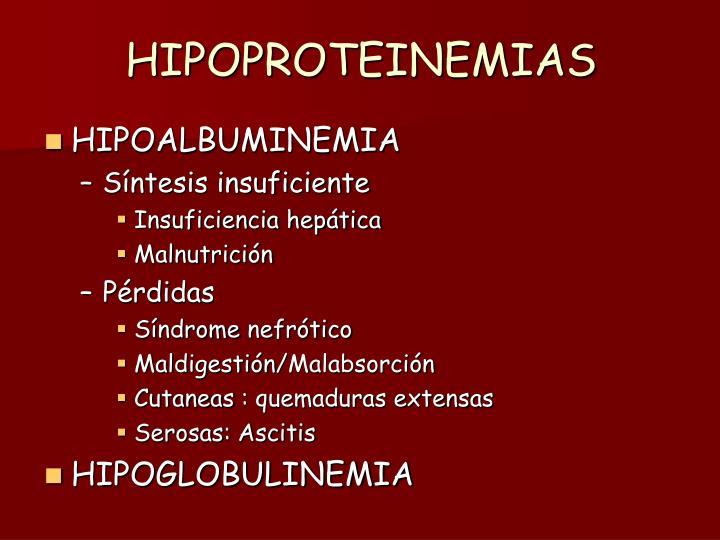 HIPOPROTEINEMIAS