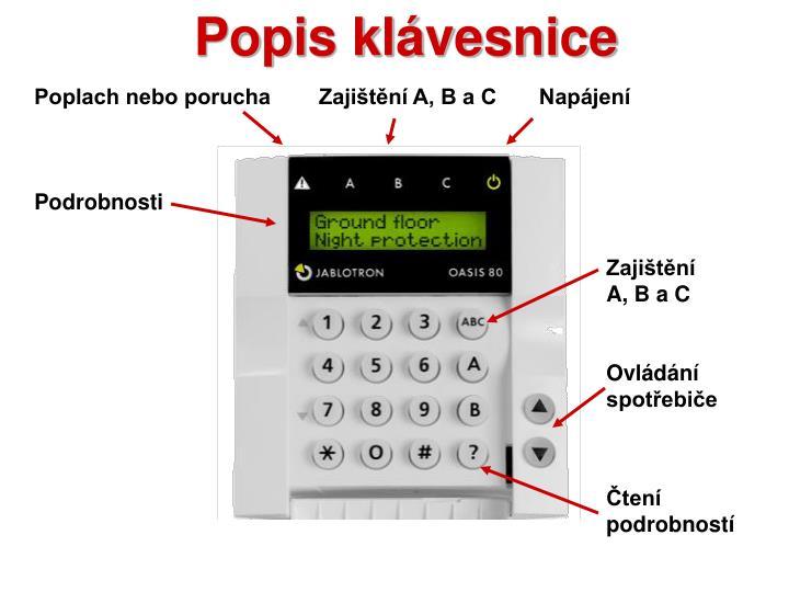 Popis klávesnice