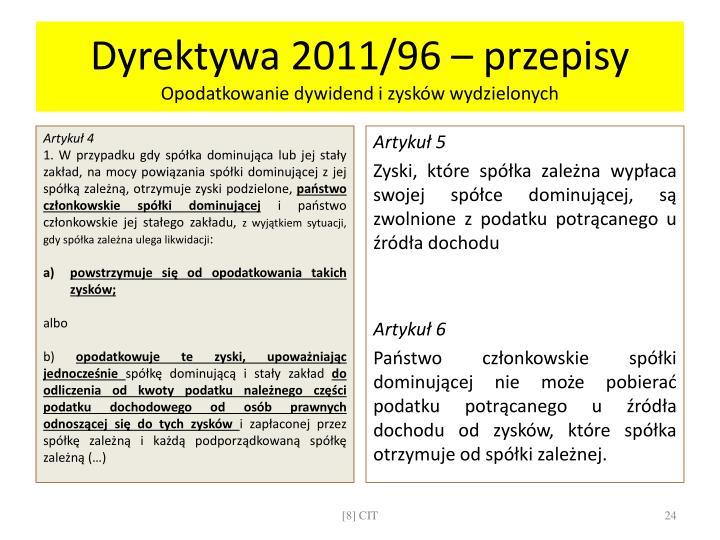 Dyrektywa 2011/96 – przepisy