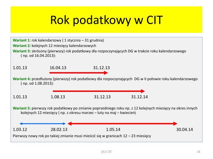 Rok podatkowy w CIT